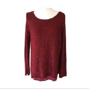 APT. 9 Sparkly Sequin Knit Chiffon Trim Top
